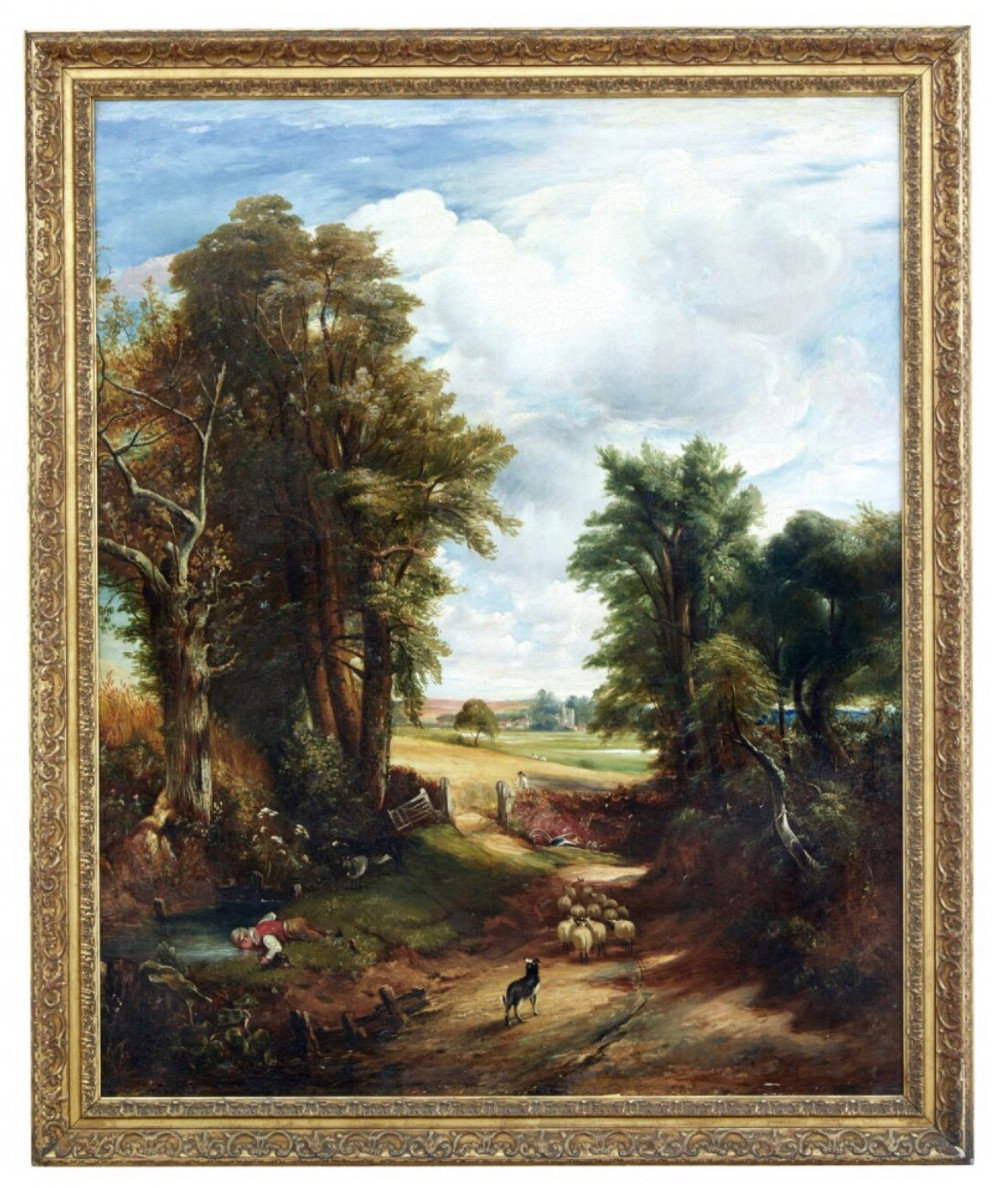 after john constable the cornfield huge landscape oil painting english school