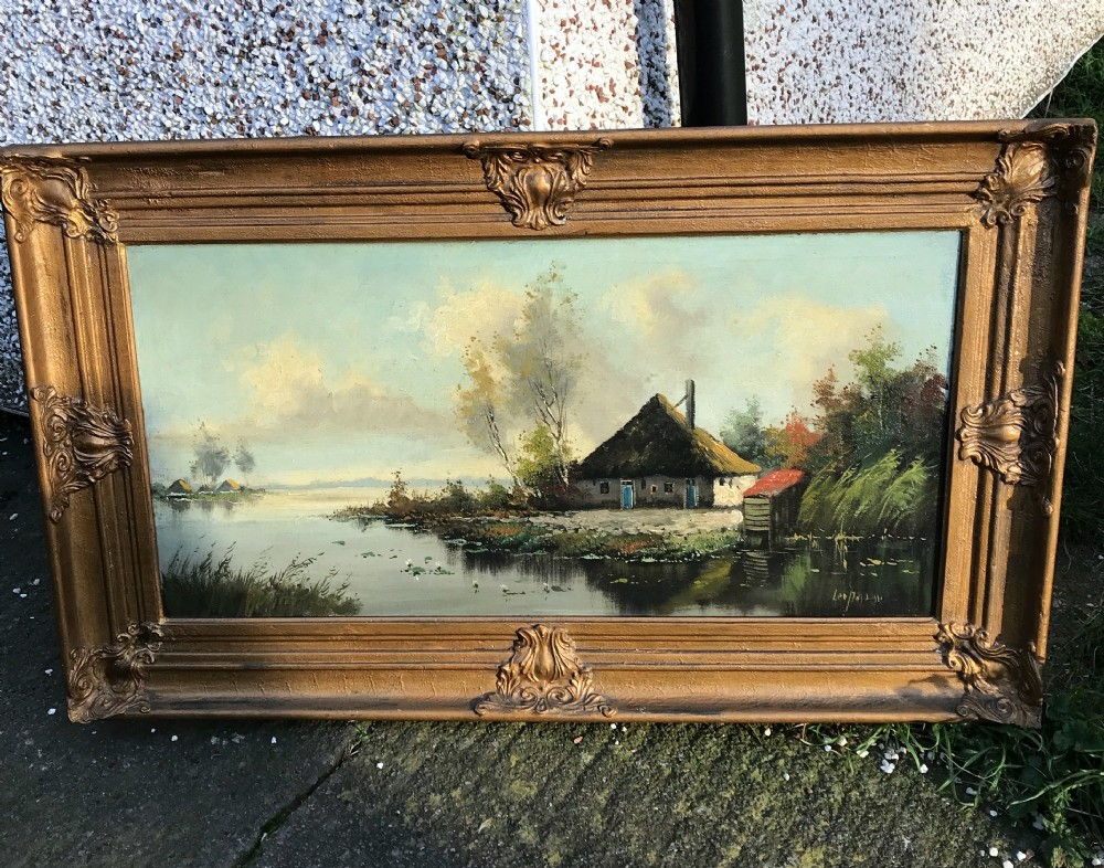 19thc river landscape oil painting of rural norfolk thatched cottage