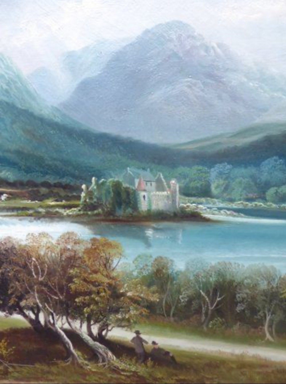 19thc landscape oil painting of kilchurn castle loch awe of the crannog ben lui scotland