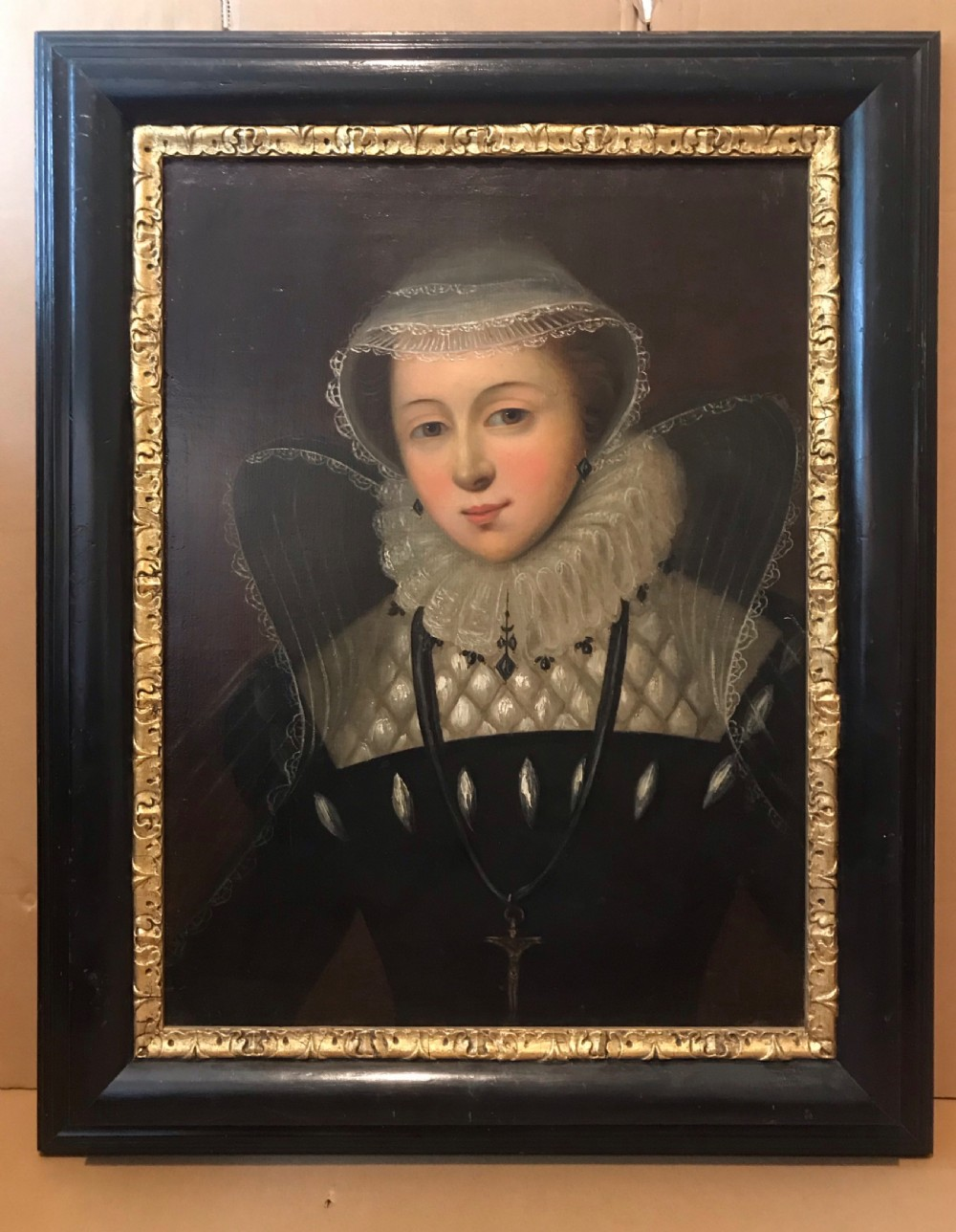 mary queen of scots after nicholas hilliard 18thc oil portrait painting