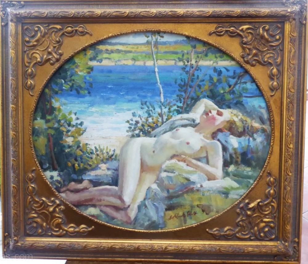 william russell flint manner of signed nude lady oil portrait painting